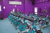 stock photo of exercise bike  - Fitness centre studio - JPG