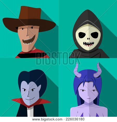 Set Of People In Halloween