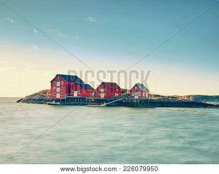 Traditional Red And White Houses