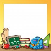 Frame with school supplies 1 - vector illustration.