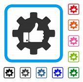 Gear Thumb Up Icon. Flat Gray Pictogram Symbol Inside A Blue Rounded Frame. Black, Gray, Green, Blue poster