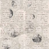 Newspaper Texture. News Collage Clippings With Mixed Unreadable Text On Beige Gray Aged Vintage Old  poster