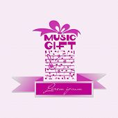 Musical Gift With Ribbon For Text. Notes. Poster, Postcard, Emblem. Design For The Program Of A Conc poster
