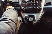 Постер, плакат: Lever Manual Six speed Gearbox Gear lever View From Above Handle A Manual Transmission In A Blurry
