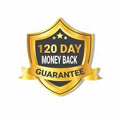 Golden Shield Money Back In 120 Days Guarantee Label With Ribbon Isolated Vector Illustration poster