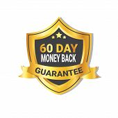 Golden Shield Money Back In 60 Days Guarantee Label With Ribbon Isolated Vector Illustration poster