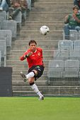 VIENNA,  AUSTRIA - JULY 26: Diego Alves Carreira (#1, Valencia) kicks the ball during the friendly s