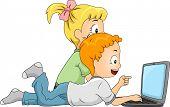 Ilustración de niños haciendo una búsqueda en Internet