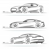 Set Of Sports Car Silhouettes, Outlines, Contours. Side And Perspective Front And Rear View. Abstrac poster