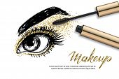 Vector Sketch Illustration Of Female Eye And Makeup Mascara. Golden Glitters Eyeshadows, Holiday Lux poster