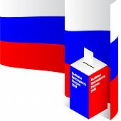 Russian Presidential Election 2018.voting Paper In The Ballot Box With Russian Flag On Background. P poster