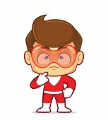 Clipart Picture Of A Superhero Cartoon Character Thinking poster