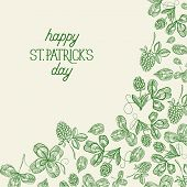 Green St Patricks Day Botanical Template With Inscription And Hand Drawn Irish Clover Vector Illustr poster