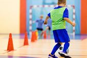 Soccer Training Dribbling Cone Drill. Football Futsal Training For Children. Indoor Soccer Young Pla poster