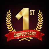 1 Year Anniversary Banner Vector. One Age, First Celebration. Shining Gold Sign. Number One. Laurel  poster