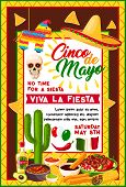 Cinco De Mayo Mexican Fiesta Party Banner With Traditional Holiday Symbols. Sombrero Hat, Chili Pepp poster