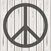 Hippie Peace Symbol. Peace Symbol On A Wooden Background. Vector Illustration poster