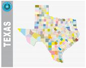 Colored Administrative And Political Vector Map Of Us Federal State Texas With Seal poster