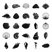 Sea Shell Icons Set. Simple Illustration Of 25 Sea Shell Vector Icons For Web poster