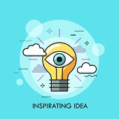 Glowing Light Bulb With Human Eye Inside. Concept Of Inspiring Idea, Creative Vision, Inspiration, C poster