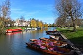 Typical River Scene In Cambridge Uk At Jesus Green Looking Towards Jesus Lock With Punts And Narrow  poster