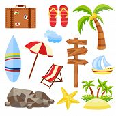Vector Flat Travelling Bag, Beach Vacation Icon Set. Summer Holiday Slippers Surf Starfish Sand Isla poster