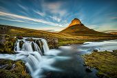Summer Sunset Over The Famous Kirkjufellsfoss Waterfall With Kirkjufell Mountain In The Background I poster