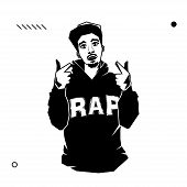 Young Male Rapper With Pointing Hands Isolated On White Background. Stock Vector Illustration Of Reb poster