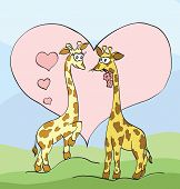 Two Giraffes With Hearts