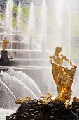 picture of samson  - Famous Samson and the Lion fountain in Peterhof Grand Cascade - JPG