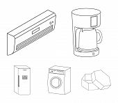 Home Appliances And Equipment Outline Icons In Set Collection For Design.modern Household Appliances poster