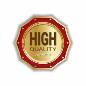 High Quality Medal Badge Golden Icon Guaranteed Seal Sign Isolated Vector Illustration poster