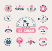 Set Of Ice-cream Shop Labels, Logotypes And Design Elements. Vintage Collection Of Different Ice Cre poster