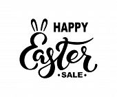 Happy Easter Sale Text Isolated On Background. Hand Drawn Lettering Easter As Easter Logo, Badge, Ic poster