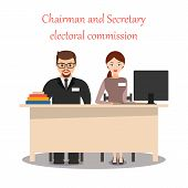 Chairman And Secretary Of The Precinct Election Commission. The Cartoon Characters. Elections, Votin poster