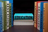 education study books with text learning building knowledge at high school back to school. Pile textbooks for college or university classes. Educational syllabus.