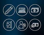 Set Of Find User, Web Analytics And Banking Icons. Pencil, Exit And Dollar Money Signs. Search Perso poster