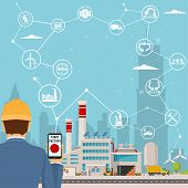 Smart Factory And Around It Icons Engineer Starting A Smart Plant. Smart Factory Or Industrial Inter poster
