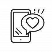 Smartphone With Heart Emoji Message On Screen Line Icon. Love Confession Like Sign And Symbol. Love  poster