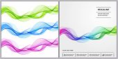 Universal Covers Design With Blue, Green, Pink, Gradient Wave Lines On White Background. Easy Editab poster