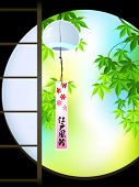 Summer japanese Momiji (maple) garden with hanging wind chime