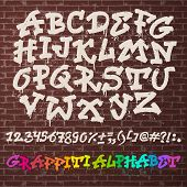 Alphabet Graffity Vector Alphabetical Font Abc By Brush Stroke With Letters And Numbers Or Grunge Al poster