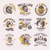 Biker Logo Vector Rider On Motorcycle Or Bike And Speed Motorcyclist Racer On Logotype Motor Emblem  poster