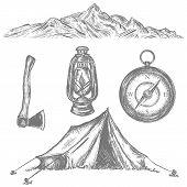 Camping Tent, Compass, Axe, Kerosene Lamp, Mountain, Adventure Retro Collection. Camping Vacation Ob poster
