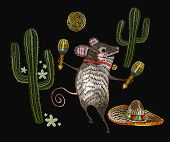 Embroidery Little Mouse Mexican Culture.  Classical Ethnic Embroidery Mouse In Sombrero, Mexican Art poster