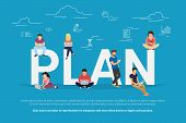 Plan Your Work And Projects Concept Vector Illustration Of Business People Using Devices For Working poster