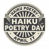 Haiku Poetry Day, April 17, Rubber Stamp, Vector Illustration poster