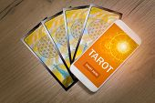 Tarot cards and smartphone with modern fortunetelling application on screen as a concept of psychic  poster