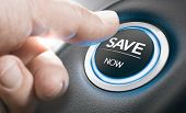 Man Pushing A Start Button With The Text Save Now. Concept Of Car Offers Or Discount. Composite Imag poster