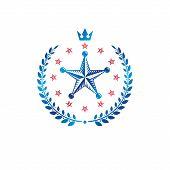 Pentagonal Stars Emblem, Union Theme Symbol Created With Royal Crown And Laurel Wreath. Heraldic Coa poster